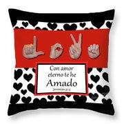 Love Spanish Bw Graphic Throw Pillow