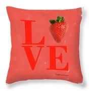 Love Strawberry Throw Pillow