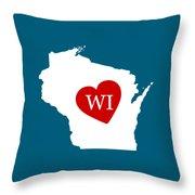 Love Wisconsin White Throw Pillow