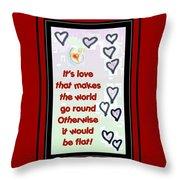 Love World Round Flat Red Throw Pillow
