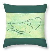 Lovebirds On Green Throw Pillow