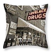 Lovelace Drugs Throw Pillow by Scott Pellegrin