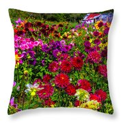 Lovely Dahlia Garden Throw Pillow