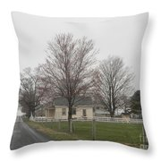 Lovely Day At An Amish Schoolhouse Throw Pillow