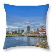 Lovely Day Long Beach Throw Pillow