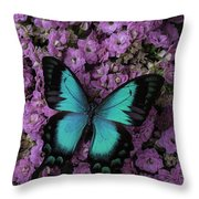 Lovely Green Winged Butterffly Throw Pillow