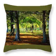 Lovely Grouping Of Trees In Mississippi Throw Pillow