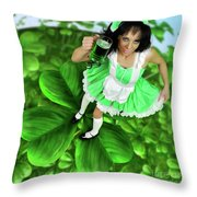 Lovely Irish Girl With A Glass Of Green Beer Throw Pillow