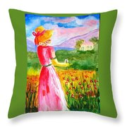 Lovely Lady Landscape Throw Pillow