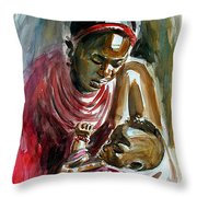 Lovely Masai Mother Throw Pillow