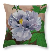 Lovely Peony Flower With Buds Throw Pillow