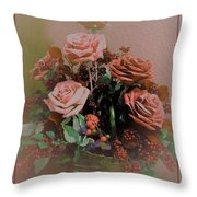 Lovely Rustic Rose Bouquet Throw Pillow