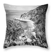 Lover's Cove Catalina Island Black And White Photo Throw Pillow