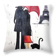 lovers in Paris Throw Pillow