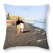 Lovers On The Beach Throw Pillow by Tom Zukauskas