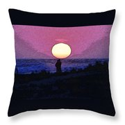 Lovers Sunset Throw Pillow