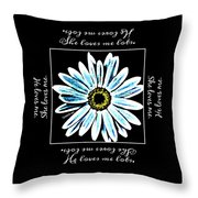 Loves Me In Blue Throw Pillow