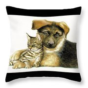 Loving Cat And Dog Throw Pillow