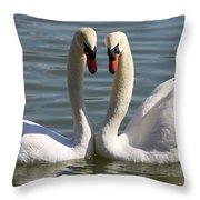 Loving Swans Throw Pillow