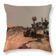 Low-angle Self-portrait Of Nasa's Curiosity Mars Rover Throw Pillow