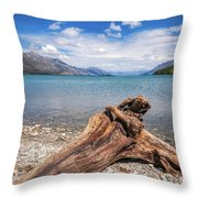 Low Angle View From The Rocky Dart River Bank At Kinloch, Nz Throw Pillow