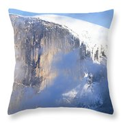 Low Angle View Of A Mountain Covered Throw Pillow