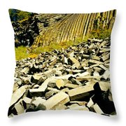 Low Angle View Of Devils Post Pile Throw Pillow
