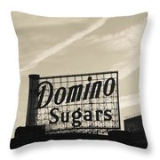 Low Angle View Of Domino Sugar Sign Throw Pillow