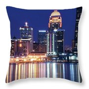 Low Moon Over Louisville Throw Pillow