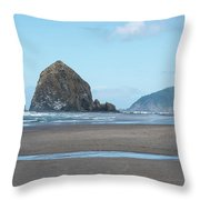 Low Tide At Cannon Beach Throw Pillow