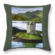 Low Tide At Castle Stalker Throw Pillow