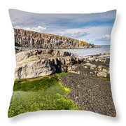 Low Tide At Cullernose Point Throw Pillow