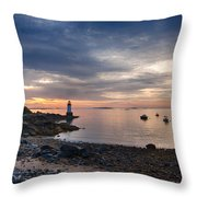 Low Tide At Salem's Lighthouse Throw Pillow