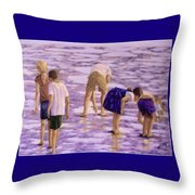 Low Tide Exploration Throw Pillow