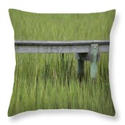 Lowcountry Dock Over Marsh Grass Throw Pillow