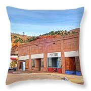 Lowell Arizona Pottery Building Old Police Car Throw Pillow