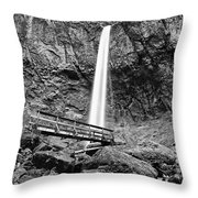 Lower Angle Of Elowah Falls In The Columbia River Gorge Throw Pillow