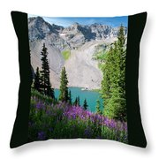 Lower Blue Lake Summer Portrait Throw Pillow by Cascade Colors