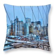 Lower East Side At Dusk From The Brooklyn Bridge Throw Pillow