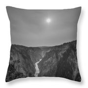 Lower Falls At Artist Point Bw  Throw Pillow