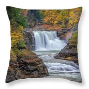 Lower Falls In Autumn Throw Pillow