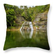Lower Falls Of Enfield Glen Early Autumn Throw Pillow