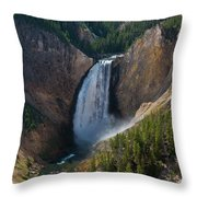 Lower Falls Of Yellowstone River Throw Pillow