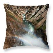 Lower Falls Rainbow Throw Pillow