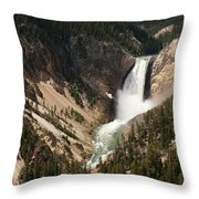 Lower Falls Yellowstone River Throw Pillow