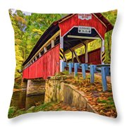 Lower Humbert Covered Bridge 2 - Paint Throw Pillow