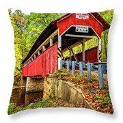Lower Humbert Covered Bridge 2 Throw Pillow