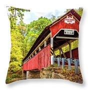 Lower Humbert Covered Bridge 3 Throw Pillow