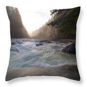 Lower Lewis River Falls During Sunset Throw Pillow