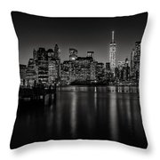 Lower Manhattan From The Brooklyn Piers Throw Pillow by Dick Wood